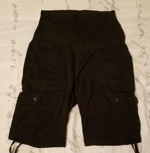Black Maternity Cargo Shorts